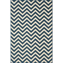 "Momeni Baja Chevron Indoor-Outdoor Area Rug - 6'7""x9'6"" in Navy - Closeouts"