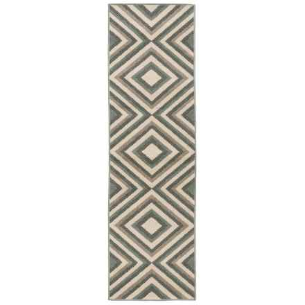 "Momeni Baja Collection Diamond Indoor-Outdoor Floor Runner - 2'3""x7'6"" in Sage - Overstock"