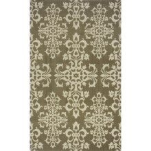 Momeni Deco Collection New Zealand Wool Hand-Carved Area Rug - 5x8' in Sage/Renaissance - Closeouts