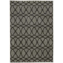 "Momeni Geometric Collection Indoor-Outdoor Area Rug - 5'3""x7'6"" in Charcoal Medallion - Overstock"