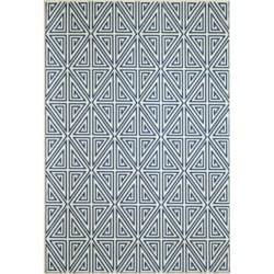"Momeni Geometric Collection Indoor-Outdoor Area Rug - 7'10""x10'10"" in Navy Diamond"
