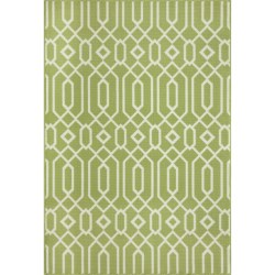"Momeni Geometric Collection Indoor-Outdoor Area Rug - 8'6""x13' in Green Geo"