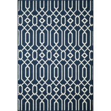 "Momeni Geometric Collection Indoor-Outdoor Area Rug - 8'6""x13' in Navy Geo - Overstock"