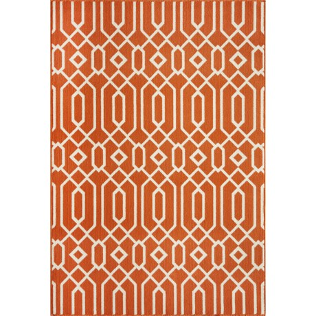 "Momeni Geometric Collection Indoor-Outdoor Area Rug - 8'6""x13' in Orange Geo"