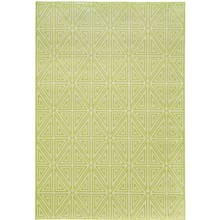 "Momeni Geometric Collection Indoor-Outdoor Floor Runner - 5'3""x7'6"" in Green Diamond - Overstock"