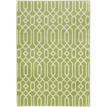 "Momeni Geometric Collection Indoor-Outdoor Floor Runner - 5'3""x7'6"" in Green Geo - Overstock"