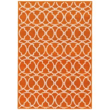 "Momeni Geometric Collection Indoor-Outdoor Floor Runner - 5'3""x7'6"" in Orange Medallion - Overstock"