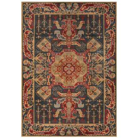 "Momeni Ghazni Collection Area Rug - 7'10""x9'10"" in Navy Medallion - Closeouts"