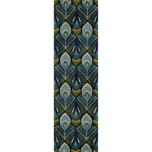 "Momeni Habitat Peacock Wool Blend Floor Runner - 2'3""x8' in Peacock - Closeouts"