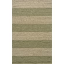 Momeni Hand-Hooked Indoor/Outdoor Area Rug - 5x8' in Sage Stripe - Overstock