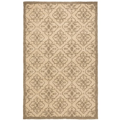 Momeni Hand-Hooked Indoor/Outdoor Area Rug - 5x8' in Taupe Medallion