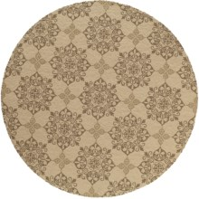 Momeni Hand-Hooked Indoor/Outdoor Area Rug - 9' Round in Beige Medallion - Overstock
