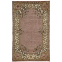 Momeni Harmony Floral Border Wool Area Rug - 5x8' in Rose - Closeouts