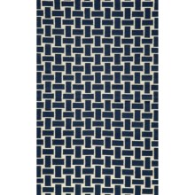 Momeni Laguna Basket-Weave Flat Weave Wool Accent Rug - 2x3' in Navy - Closeouts