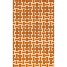 Momeni Laguna Basket-Weave Flat Weave Wool Accent Rug - 2x3' in Orange - Closeouts