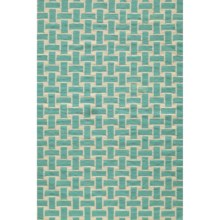 Momeni Laguna Basket-Weave Flat-Weave Wool Accent Rug - 2x3' in Aqua - Closeouts