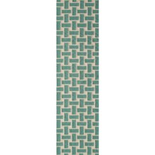 "Momeni Laguna Basket-Weave Flat Weave Wool Floor Runner - 2'3""x8' in Aqua - Closeouts"