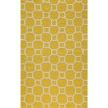 Momeni Laguna Circle Flat-Weave Wool Accent Rug - 2x3' in Lemon - Closeouts