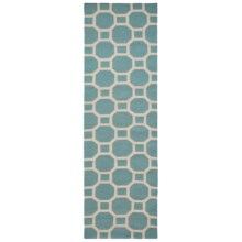 "Momeni Laguna Circle Flat-Weave Wool Floor Runner - 2'3""x8' in Aqua - Closeouts"