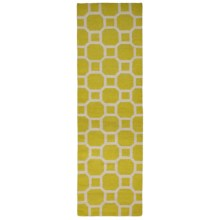 "Momeni Laguna Circle Flat-Weave Wool Floor Runner - 2'3""x8' in Lemon - Closeouts"