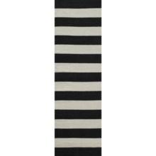 "Momeni Laguna Stripe Flat Weave Wool Accent Rug - 2'3""x8' in Black - Closeouts"