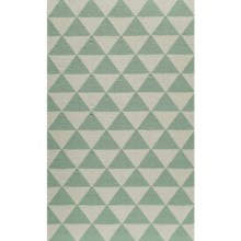 "Momeni Laguna Triangles Flat-Weave Wool Accent Rug - 3'6""x5'6"" in Mint - Closeouts"