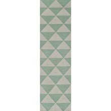 "Momeni Laguna Triangles Flat-Weave Wool Floor Runner - 2'3""x8' in Mint - Closeouts"