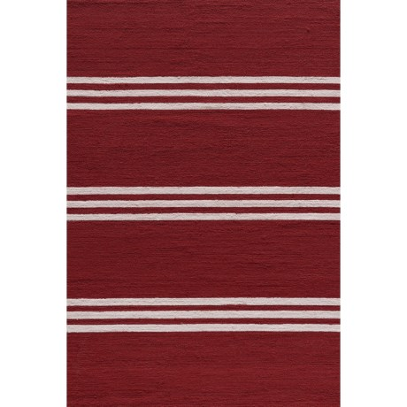 Momeni Maritime Stripe Hand-Hooked Indoor/Outdoor Accent Rug - 2x3' in Red