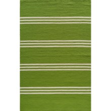 Momeni Maritime Stripe Hand-Hooked Indoor/Outdoor Accent Rug - 5x8' in Lime - Overstock