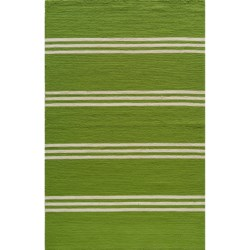 Momeni Maritime Stripe Hand-Hooked Indoor/Outdoor Accent Rug - 5x8' in Lime