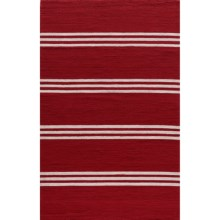 Momeni Maritime Stripe Hand-Hooked Indoor/Outdoor Accent Rug - 5x8' in Red - Overstock
