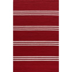 Momeni Maritime Stripe Hand-Hooked Indoor/Outdoor Accent Rug - 8x10' in Maritime Blue