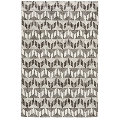 Momeni Mesa Flat-Weave Natural Wool Area Rug - Reversible, 5x8' in Chevron Grey