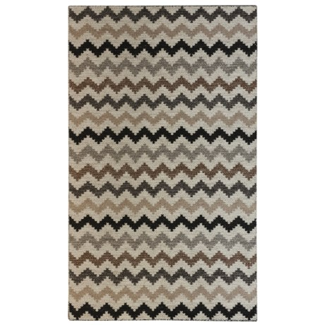 Momeni Mesa Flat-Weave Natural Wool Area Rug - Reversible, 5x8' in Natural Stripe