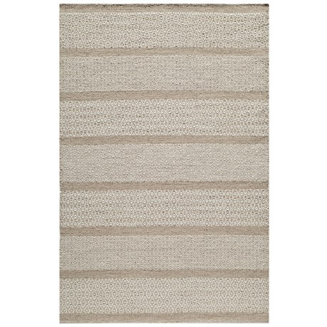 Momeni Mesa Flat-Weave Natural Wool Area Rug - Reversible, 5x8' in Heathered Natural