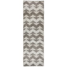 "Momeni Mesa Flat-Weave Natural Wool Floor Runner - 2'3""x8', Reversible in Chevron Grey - Overstock"