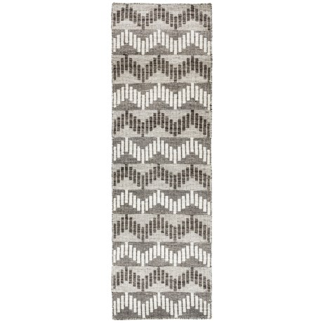 "Momeni Mesa Flat-Weave Natural Wool Floor Runner - 2'3""x8', Reversible in Chevron Grey"