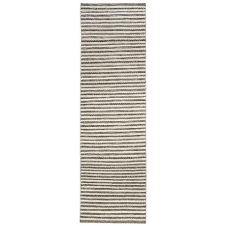 """Momeni Mesa Flat-Weave Natural Wool Floor Runner - 2'3""""x8', Reversible in Natural Stripe"""
