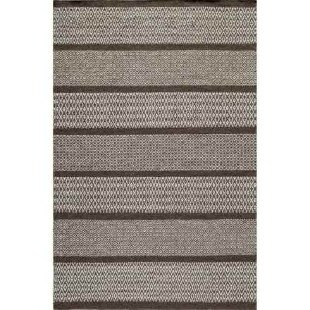 Momeni Mesa Flat-Weave Reversible Natural Wool Area Rug - 8x10' in Brown Wide Stripe - Overstock