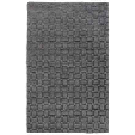 Momeni Metro Basket-Weave Wool Area Rug - 5x8' in Charcoal - Overstock