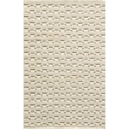 Momeni Metro Basket-Weave Wool Area Rug - 5x8' in Ivory - Overstock