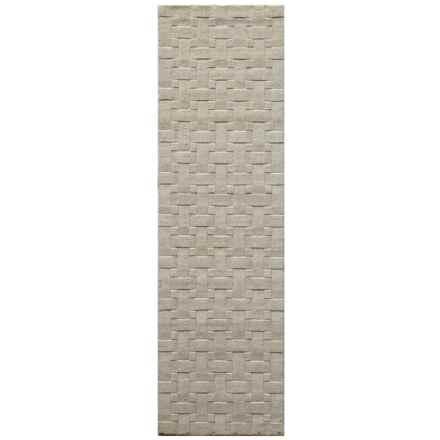 "Momeni Metro Basket-Weave Wool Floor Runner - 2'3""x8' in Ivory - Closeouts"