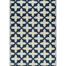 "Momeni Moroccan Lattice Indoor/Outdoor Area Rug - 6'7""x9'6"" in Navy - Overstock"