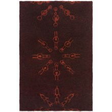 "Momeni New Wave Transitional Hand-Tufted Wool Area Rug - 3'6""x5'6"" in Burgundy Sunburst - Closeouts"