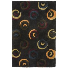 "Momeni New Wave Transitional Hand-Tufted Wool Area Rug - 5'3""x8' in Charcoal Swirl - Closeouts"