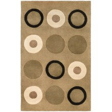 "Momeni New Wave Transitional Hand-Tufted Wool Area Rug - 7'6""x9'6"" in Sage Circles - Closeouts"