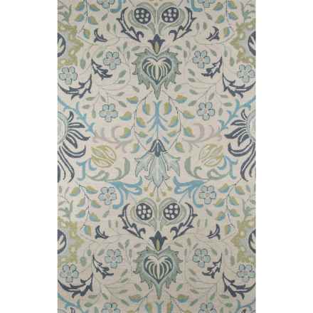 Momeni Newport Collection Area Rug - 5x8', Hand-Hooked Wool in Blue Floral - Closeouts