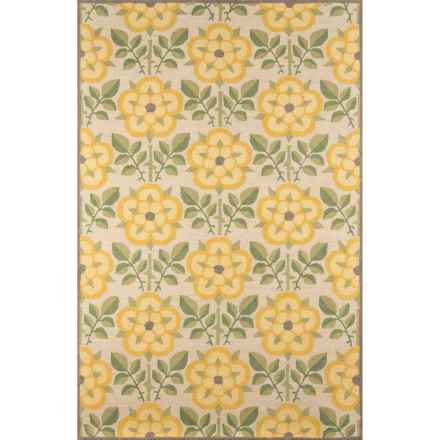 Momeni Newport Collection Area Rug - 5x8', Hand-Hooked Wool in Yellow Flower - Closeouts