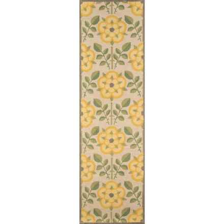 Momeni Newport Collection Floor Runner - 2'3x8', Hand-Hooked Wool in Yellow Flower - Closeouts