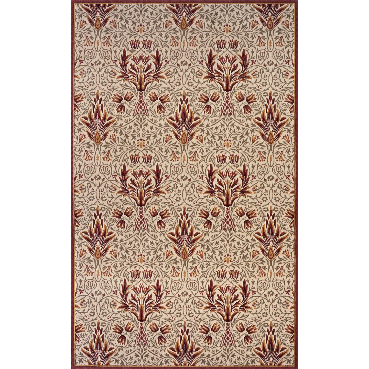 Momeni Nouveau Arts u0026 Crafts Wool Area Rug - 8x10u2019 in Ivory/Red